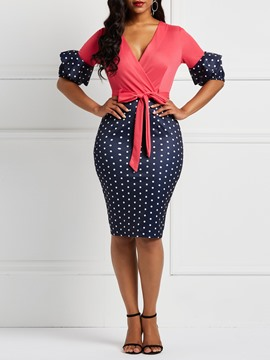 Ericdress Lace Up Polka Dots Flare Sleeve Bodycon Bodycon Dresses