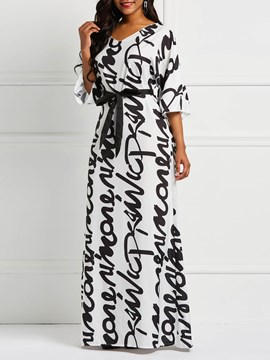 Ericdress Floor-Length Straight Letter Print Dress