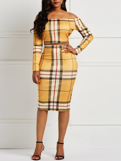 Ericdress Plaid Bodycon Off-Shoulder T-Shirt and Skirt Women's Two Piece Sets