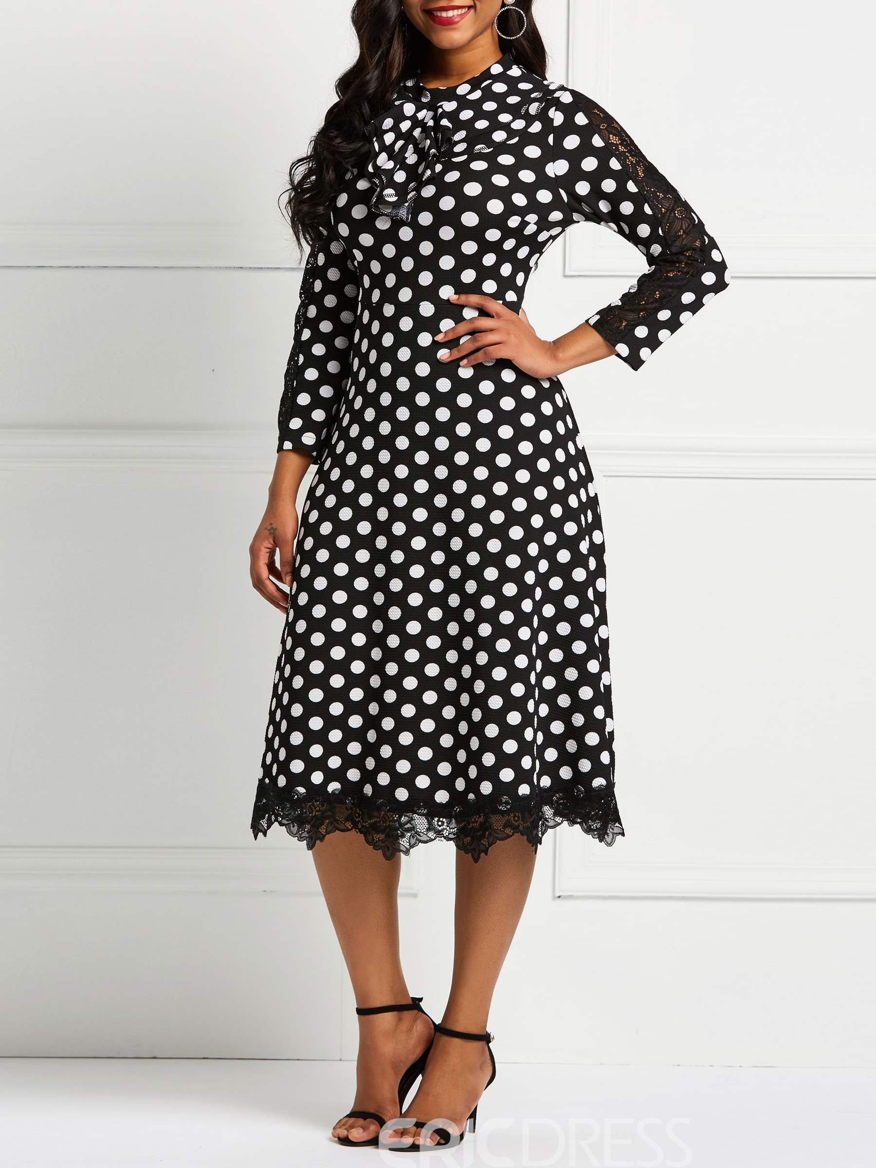 Ericdress Long Sleeve Knee-Length Lace Patchwork Polka Dots Dresses