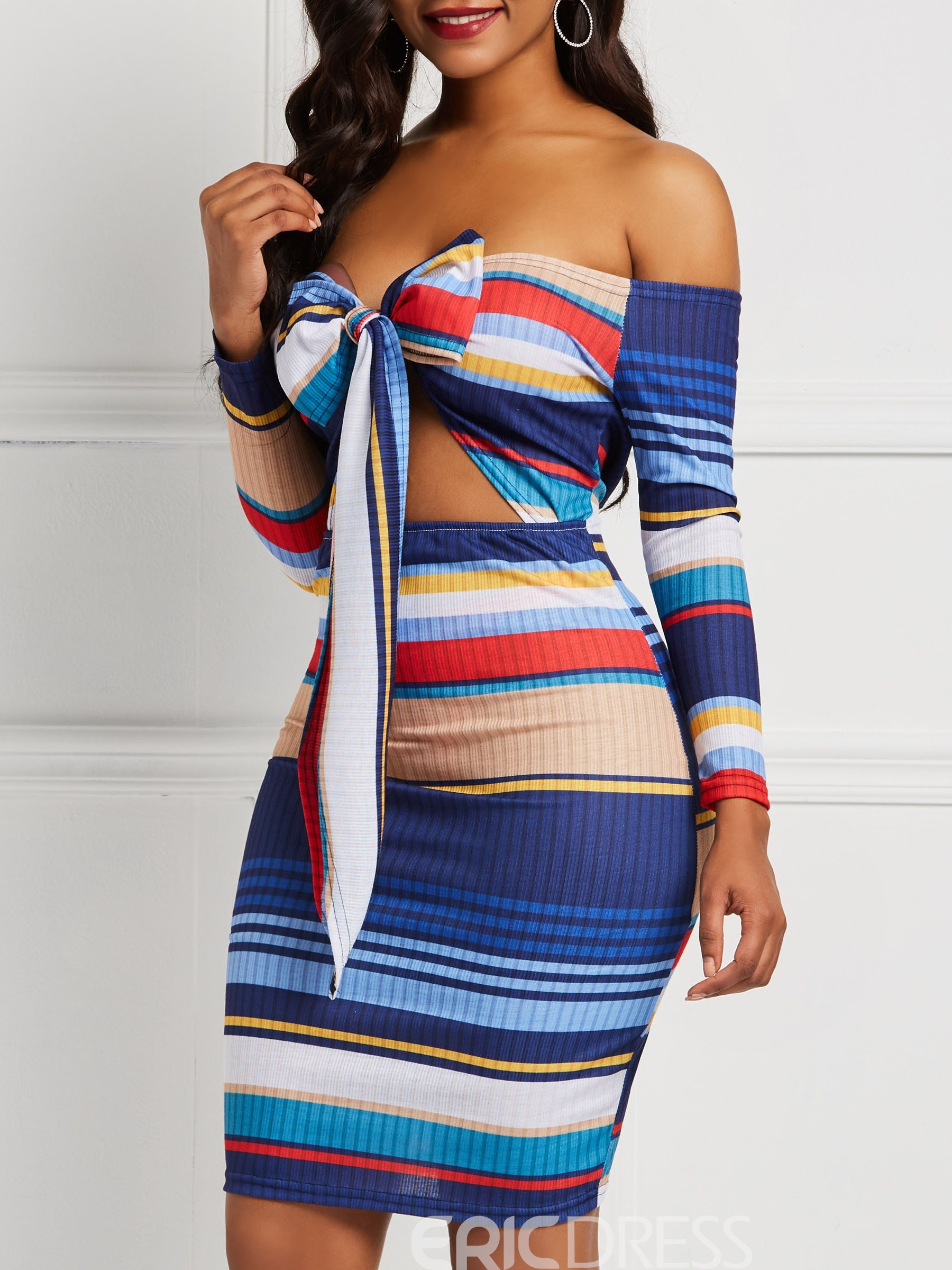 Ericdress Lace-Up Stripe Long Sleeves Lace-Up Off the Shoulder Dresses