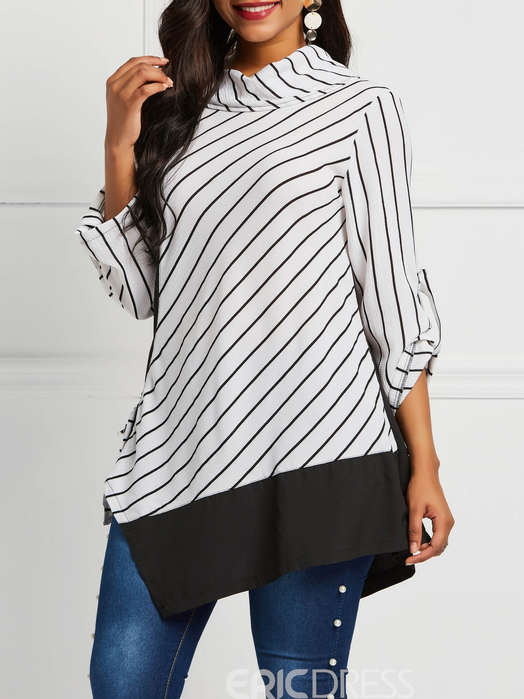 Ericdress Color Block Patchwork Three-Quarter Sleeve Mid-Length Blouse