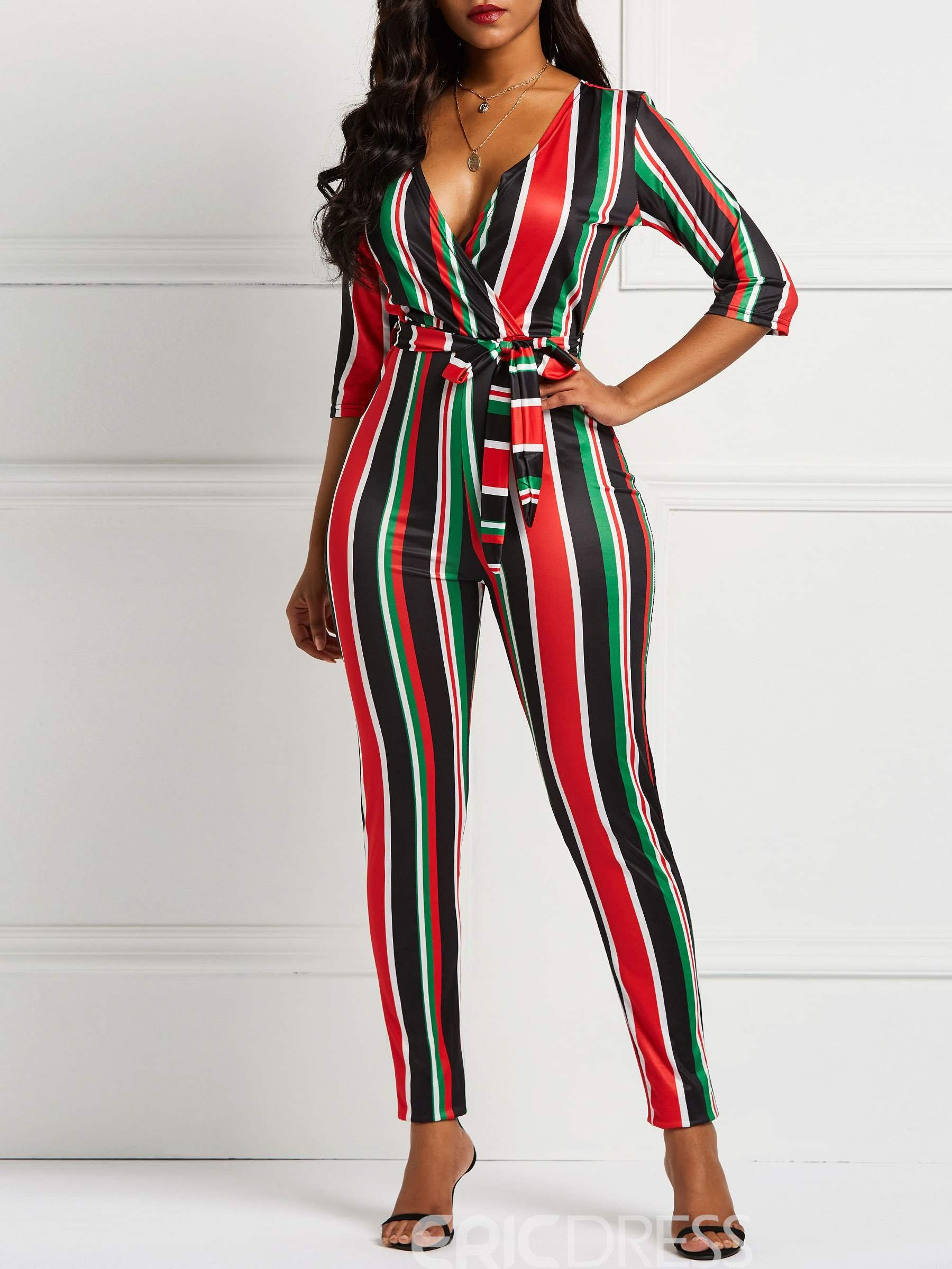 Ericdress Striped Color Block Skinny Jumpsuit