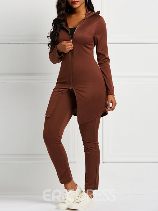 Ericdress Plain Simple Skinny Coat and Pencil Pants Women's Two Piece Sets