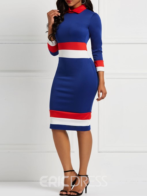 Ericdress Long Sleeves Knee-Length Color Block Bodycon Casual Dresses