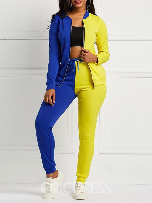 Ericdress Color Block Patchwork Pockets Jacket and Pencil Pants Women's Two Piece Sets
