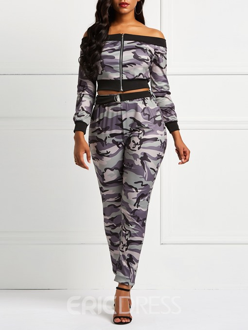 Ericdress Camouflage Print Zipper Two Piece Sets