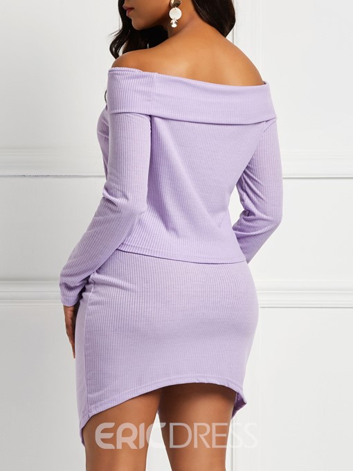 Ericdress Asymmetric Plain Skinny Off-Shoulder Top and Skirt Women's Two Piece Sets