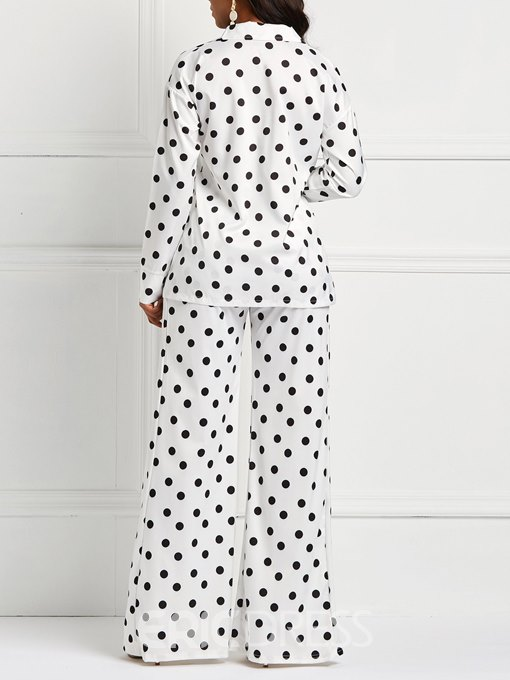 Ericdress Polka Dots Lapel Long Sleeves Top and Pants Women's Formal Suit