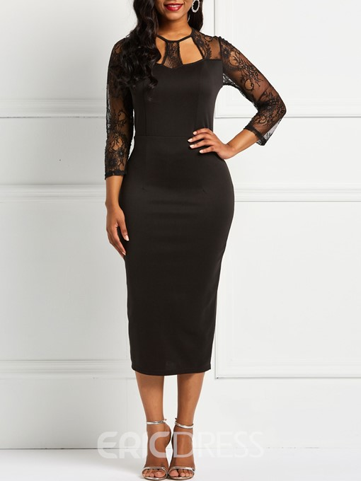 Ericdress Lace Patchwork Mid-Calf Bodycon Dresses