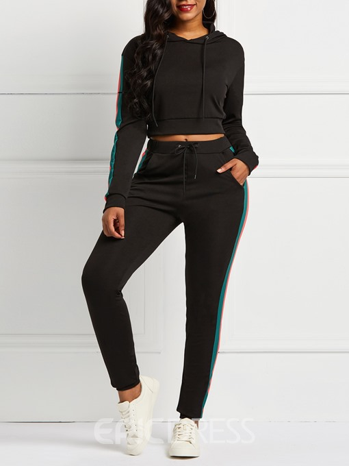 Ericdress Plain Sports Pocket Hooded and Pencil Pants Women's Two Piece Sets