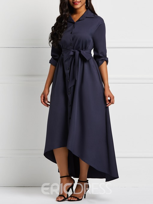 Ericdress Ankle-Length Single-Breasted Pocket Asymmetrical Hem Dress