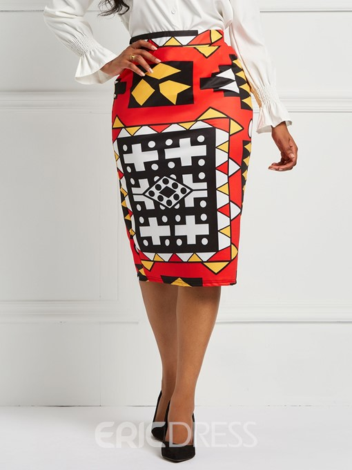 Ericdress Geometric Print Color Block Bodycon Women's Skirt