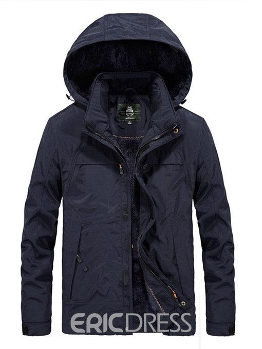 Ericdress Zipper Stand Collar Plain Mens Winter Jackets
