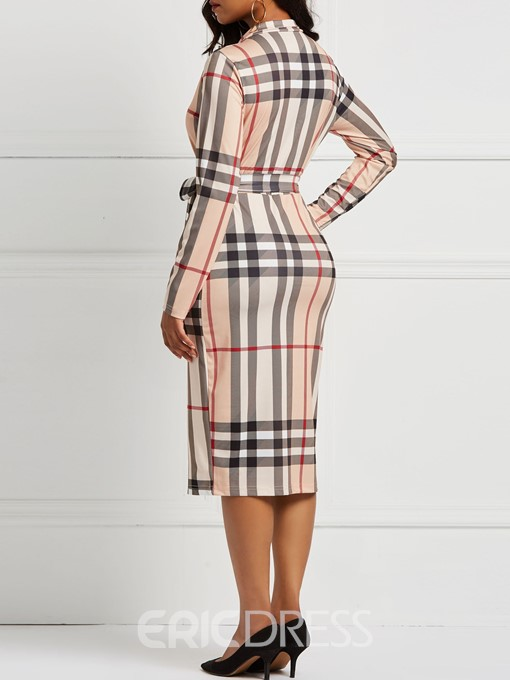 Ericdress Long Sleeves Plaid Bodycon Color Block Dresses