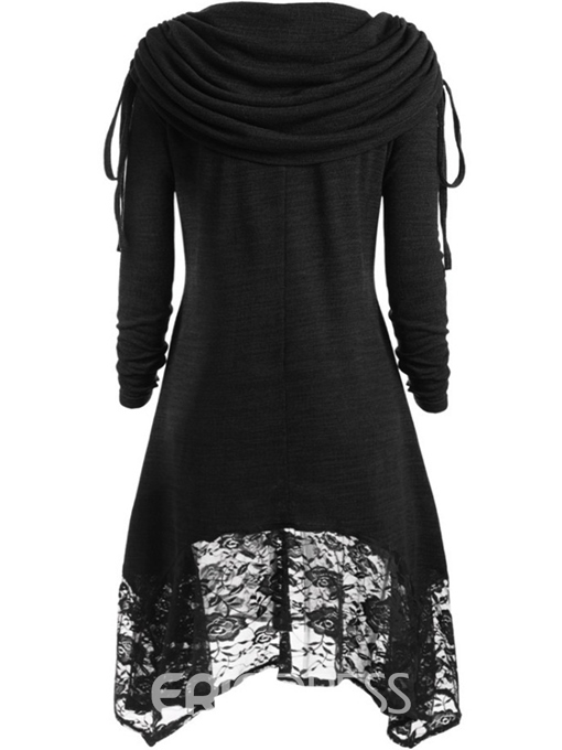 Ericdress Regular Lace Plain Long Sleeve Mid-Length Hoodie