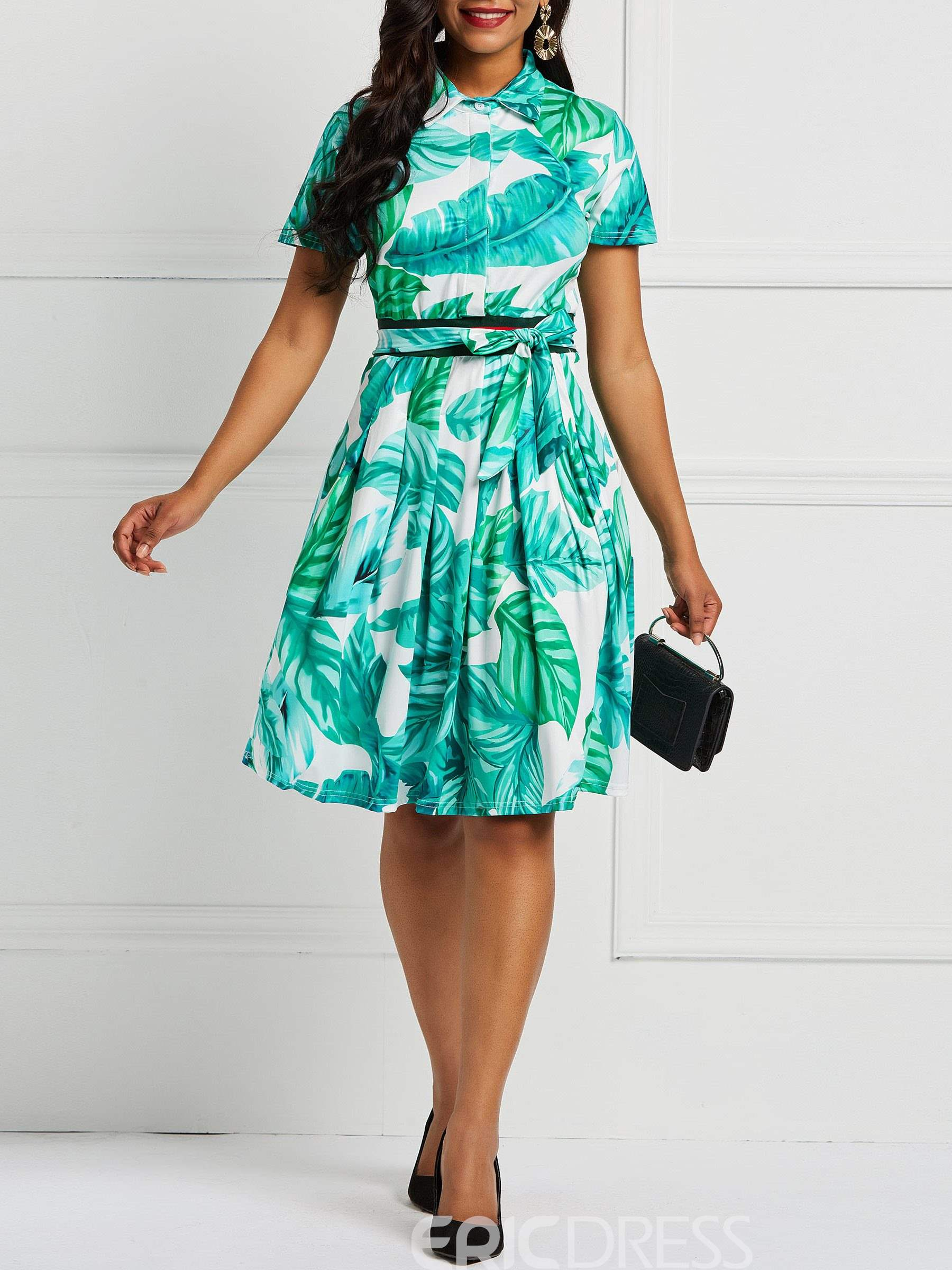 Ericdress Lace-Up A-Line Print Dresses