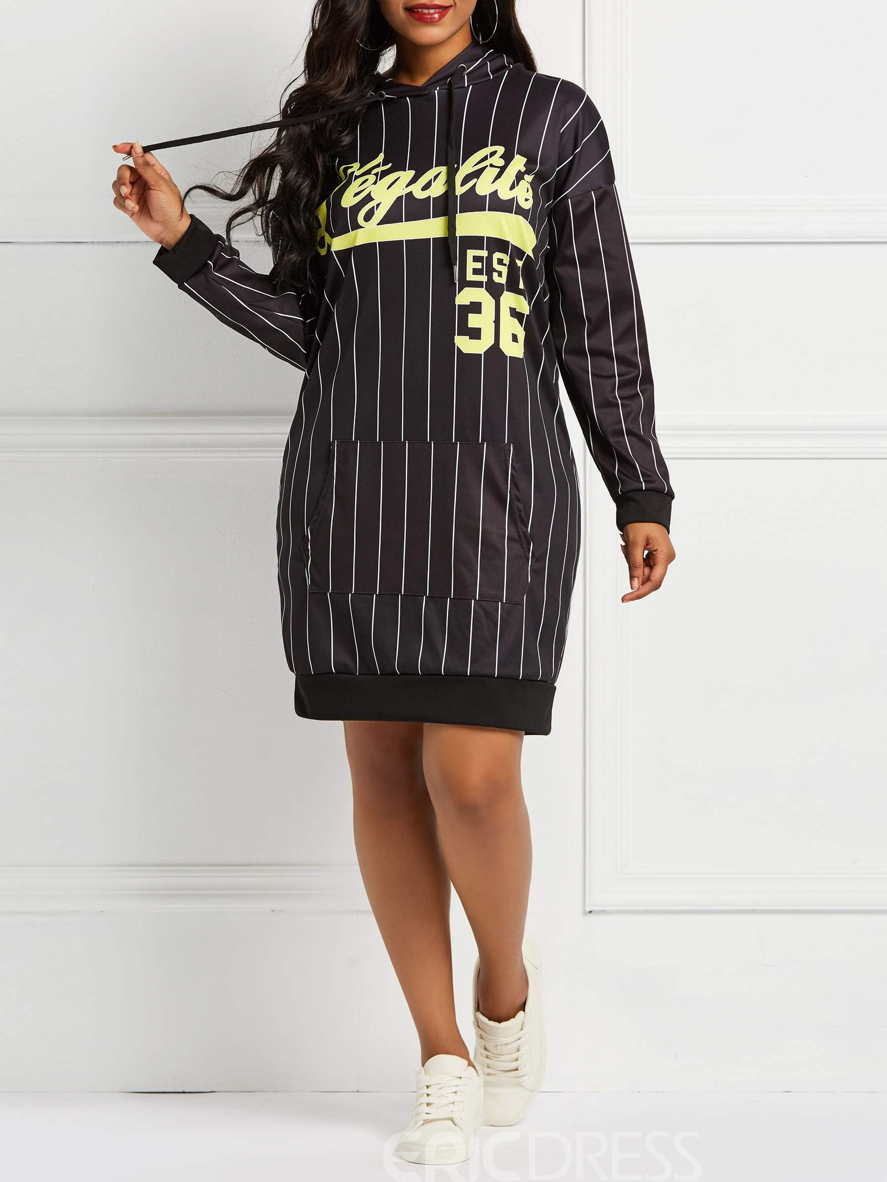 ericdress print knielanger pullover ladylike brief dress