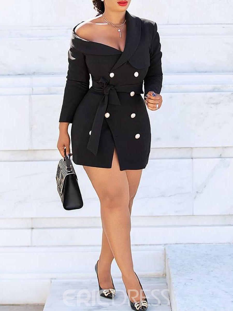 Ericdress Split Above Knee Double-Breasted Office Lady Dress
