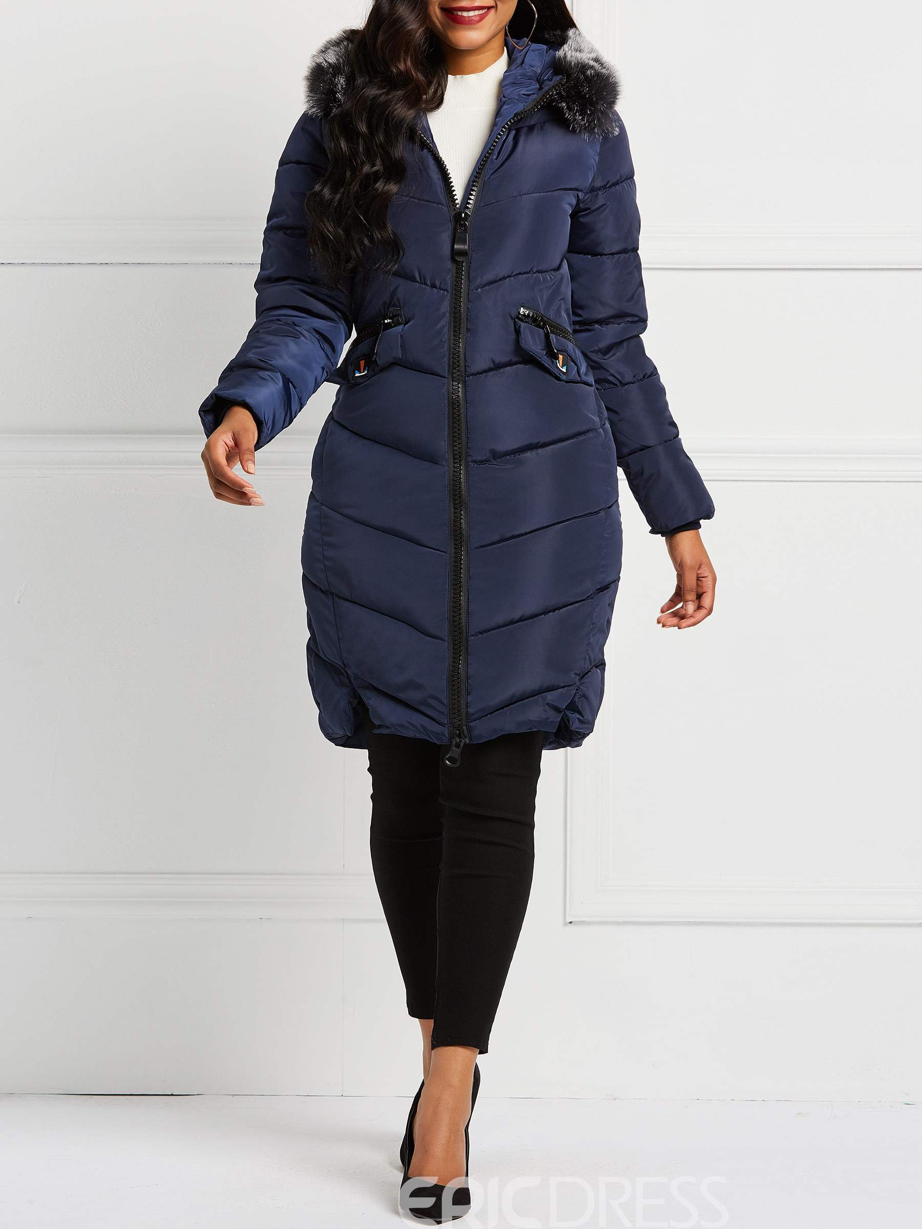 Ericdress Pocket Slim Zipper Mid-Length Down Coats