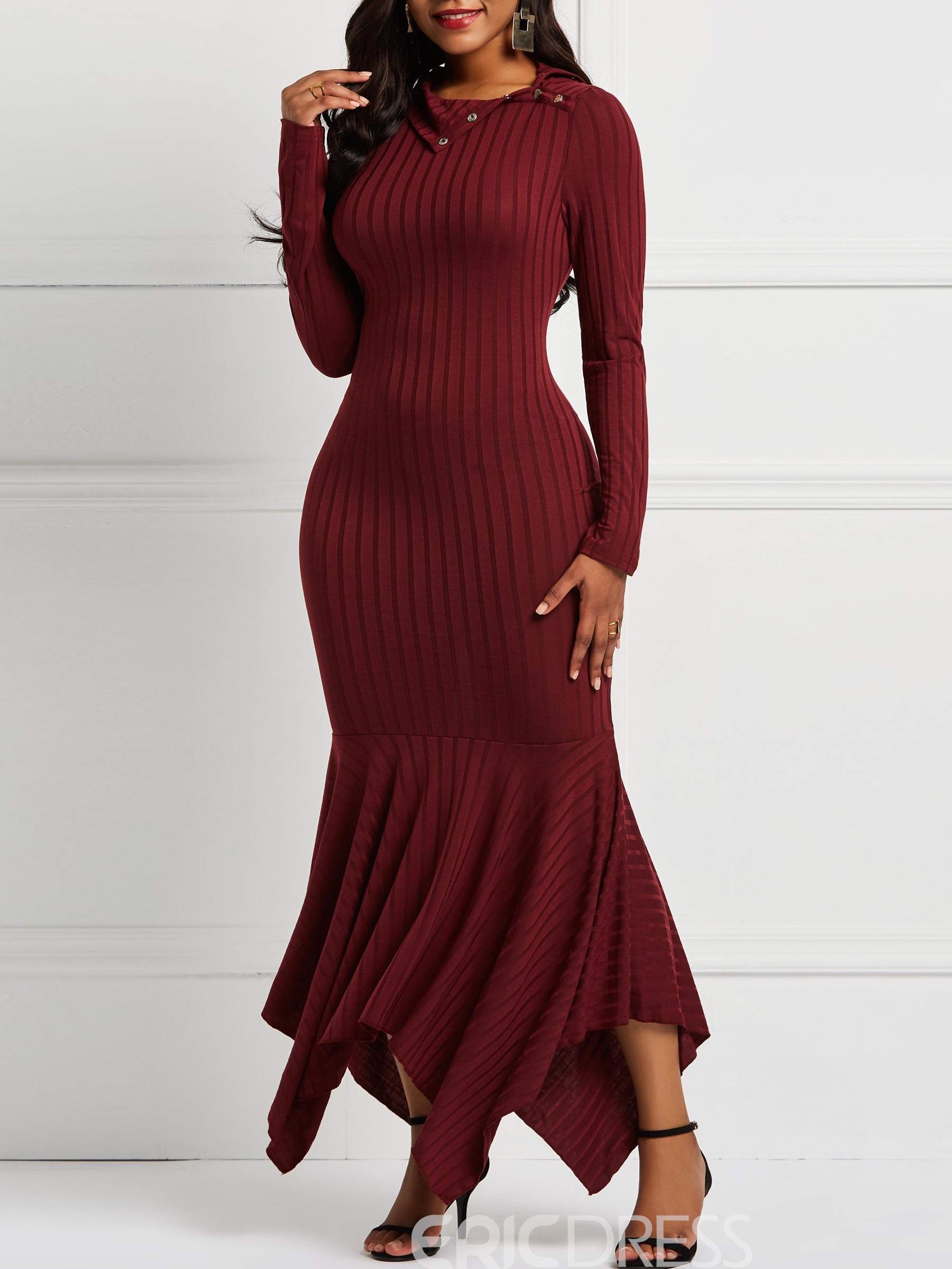 Ericdress Mermaid Long Sleeve Pullover Plain Elegant Sweater Dresses