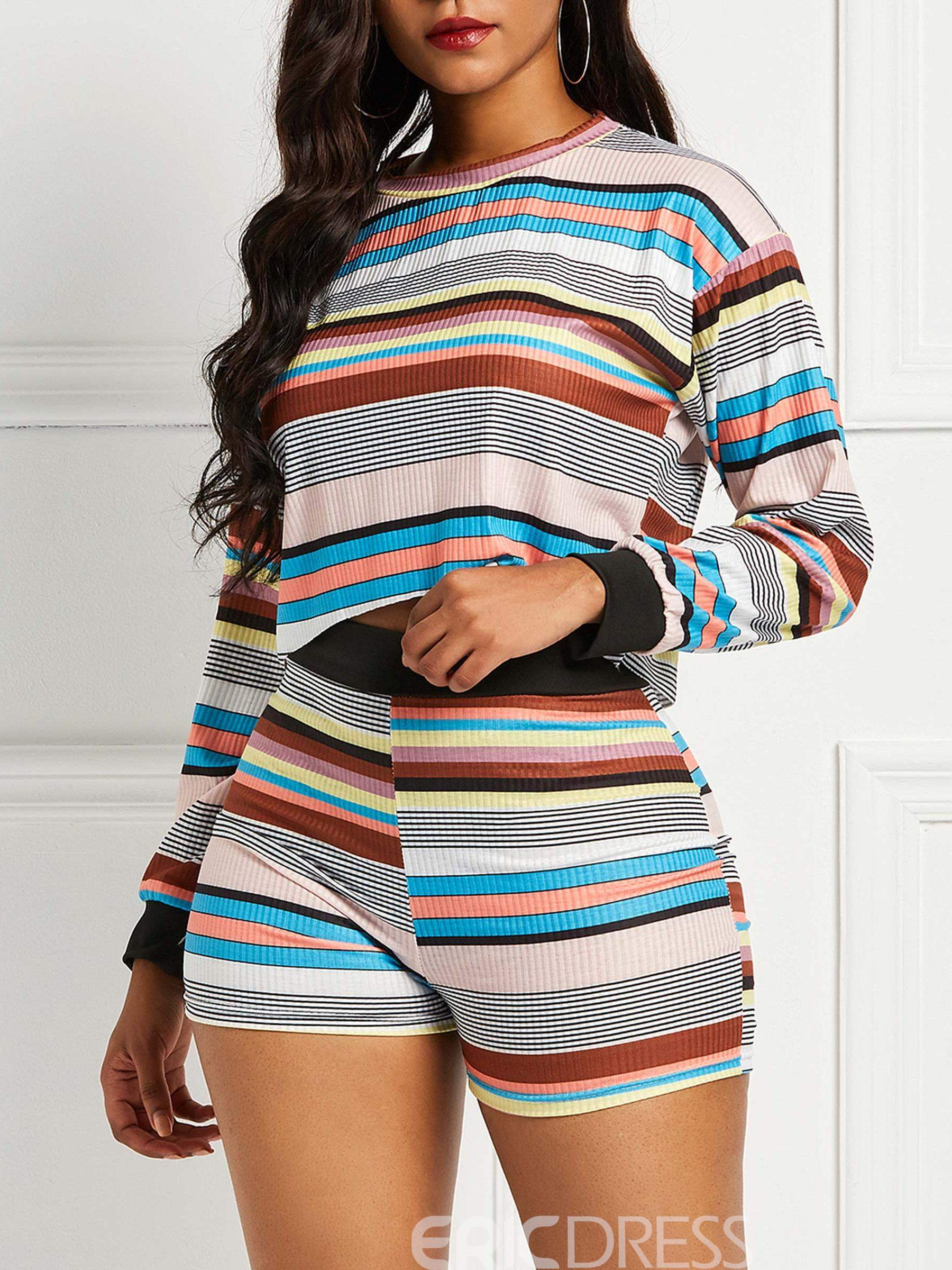 Ericdress Striped Patchwork Color Block Women's Two Piece Sets