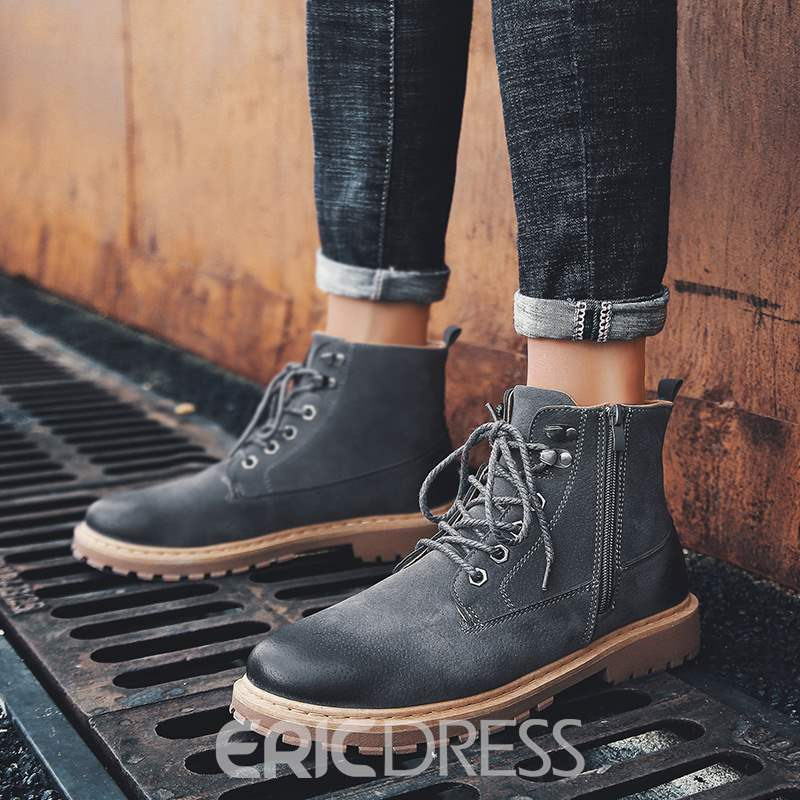 Ericdress PU Round Toe Side Zipper Men's Martin Boots