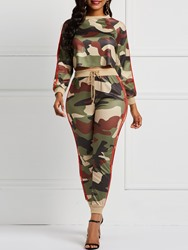 Ericdress Camouflage Patchwork Print T-Shirt and Pencil Pants Womens Two Piece Sets thumbnail