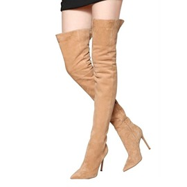 Ericdress Side Zipper Pointed Toe Stiletto Heel Thigh High Boots