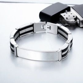 Ericdress Stripe Titanium Steel Men's Bracelet