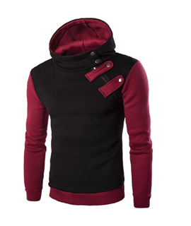 Ericdress Patchwork Button Mens Casual Hoodies