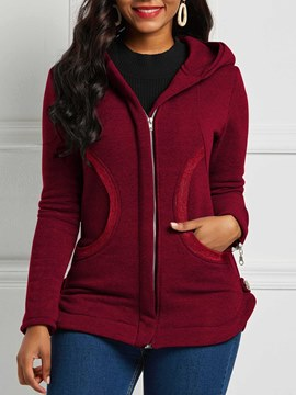 Ericdress Zipper Long Sleeve Slim Hooded Mid-Length Jacket