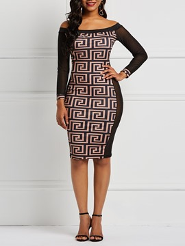 Ericdress Long Sleeve Mesh Knee-Length Bodycon Print Dresses
