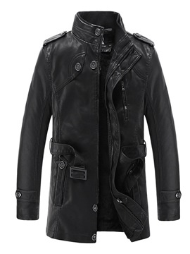 Ericdress Plain Stand Collar Mens OL Leather Jacket With Belt