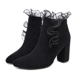 Ericdress Suede Side Zipper Chunky Heel Women's Ankle Boots