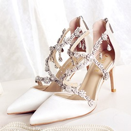Ericdress Rhinestone Zipper Pointed Toe Wedding Shoes