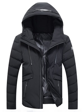 Ericdress Plain Hooded Thick Zipper Men's Down Jacket