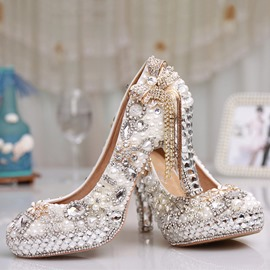 Ericdress Rhinestone Chunky Heel Round Toe Wedding Shoes
