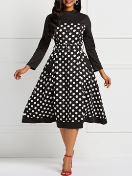 Ericdress Long Sleeve Polka Dots A-Line Pocket Dresses