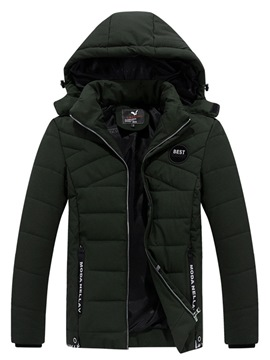 Ericdress Letter Print Removable Hooded Zipper Men's Down Jacket