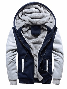 Ericdress Fleece Patchwork Cardigan Mens Casual Winter Hoodies