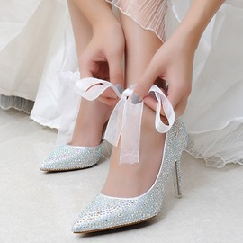 Ericdress Pointed Toe Stiletto Heel Lace-Up Wedding Shoes