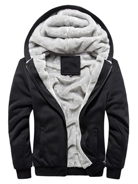 Ericdress Fleece Plain Cardigan Sports Mens Casual Winter Hoodies