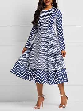 Ericdress Long Sleeve Geometric Print Color Block Dress