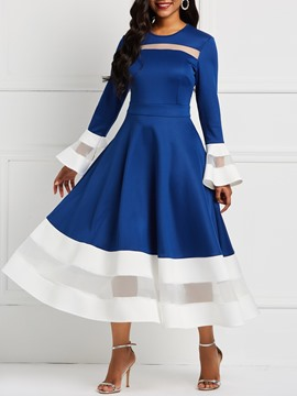 Ericdress Long Sleeve Mesh Sweet Flare Sleeve Expansion Dress