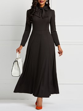 Ericdress Long Sleeve Bowknot Plain Pocket Maxi Dress