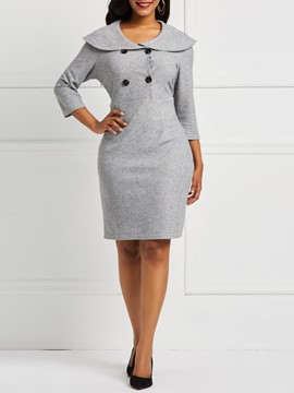 Ericdress Knee-Length Button Office Lady A-Line Dress
