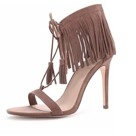 Ericdress Fringe Heel Covering Stiletto Heel Lace-Up Sandals