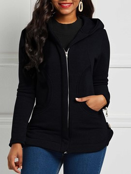 Ericdress Slim Zipper Long Sleeve Mid-Length Hooded Jacket