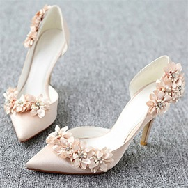 Ericdress 3D Floral Pointed Toe Slip-On Wedding Shoes